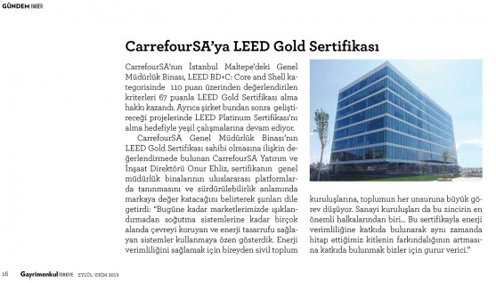 LEED Gold Certificate to CarrefourSA